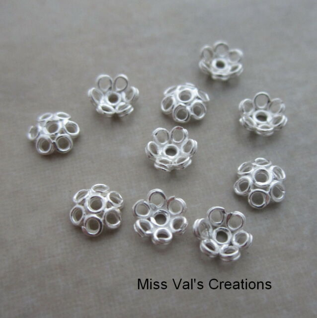 10 bead caps sterling silver 5mm bright wire