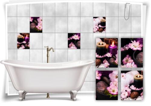 Carrelage-Autocollant Spa Spa rhododendren fleurs bougies pierres rose salle de bain deco