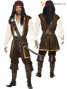 Details About Mens High Seas Pirate Costume Adult Buccaneer Captain Fancy Dress Jack Sparrow