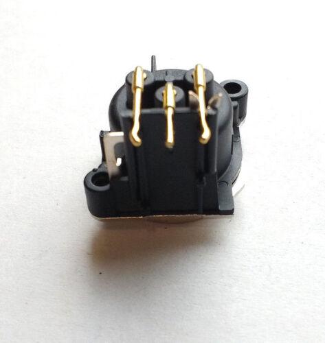 Neutrik NC3MBH-1 3 pole male XLR receptacle Horizontal PCB Mount B shape