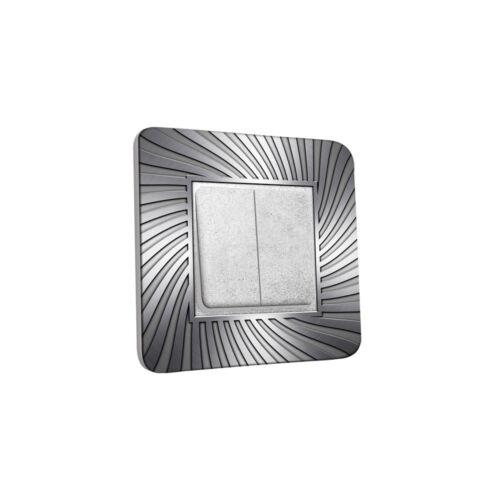 INTER-D-266 Interrupteur Décoré Double Va et Vient Design Argenté Ref