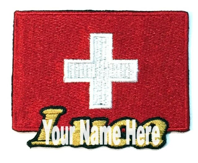 Flag of Switzerland Custom Iron-on Patch With Name Personalized Free