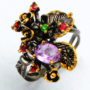 Gift-Natural-Amethyst-925-Sterling-Silver-Handmade-Thai-Silver-Ring-RVS90