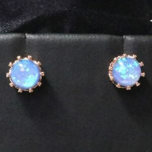 Sparkling-Blue-Round-Fire-Opal-Earring-Stud-Women-Jewelry-14K-Rose-Gold-Plated