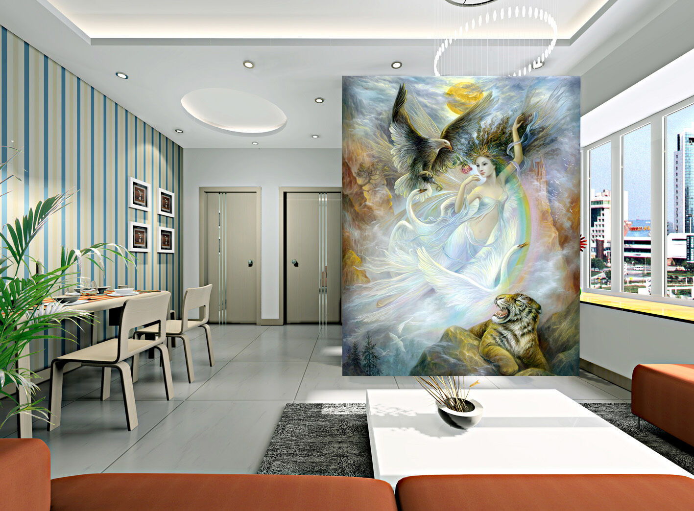 3D Fairy Eagle Girl Wall Paper Wall Print Decal Wall Deco Indoor Wall Murals
