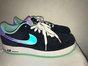 Nike Air Force 1 Low Black Shiny Silver Green Glow 488298