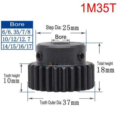 45# Steel Spur Gear Pinion Gear 1Mod 35T Outer Diameter 37mm Bore 6-17mm Qty 1