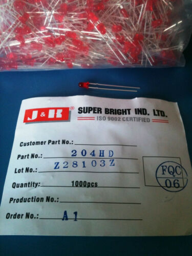 204HD J/&K SUPER BRIGHT LED RED DIFFUSED STANDARD RADIAL