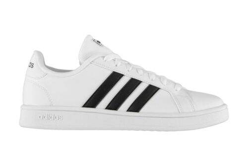 adidas Mens Grand Court Base Trainers White Black Sports Shoes