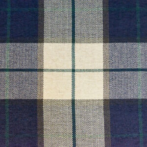 54-034-Wide-Drapery-Upholstery-Plaid-Chenille-Fabric-Navy-By-the-Yard