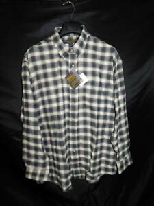 Chesterfield-L-16-5-NWT-Blue-Brown-Plaid-Flannel-Shirt-Button-Down-Pocket-Cotton