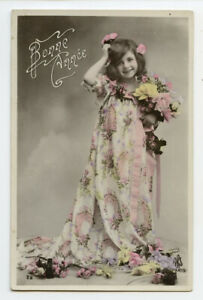 c 1910 Glamour PRETTY LITTLE GIRL in long dress child children photo postcard