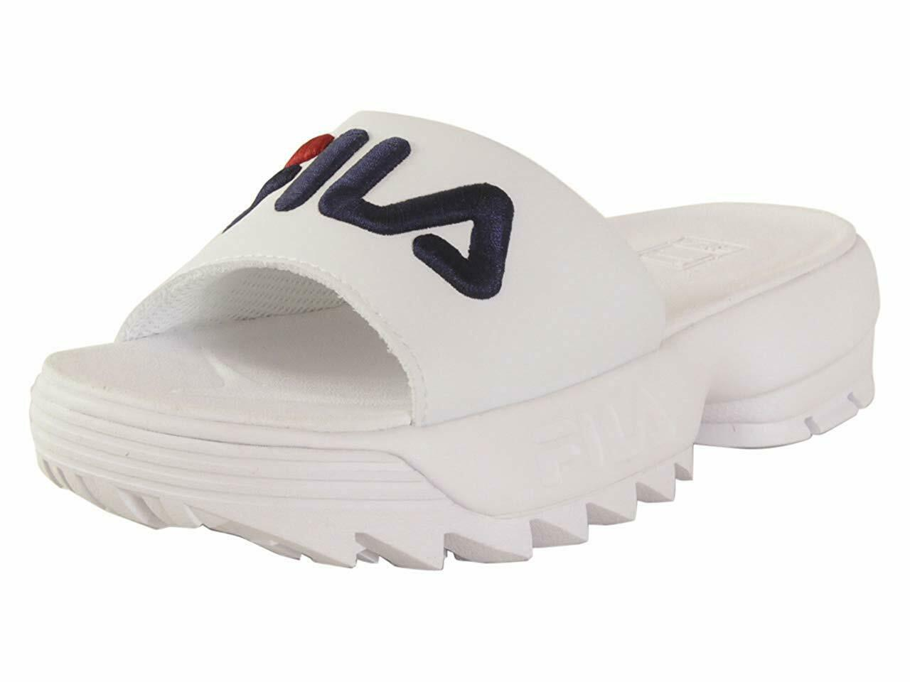 FILA DISRUPTOR BOLD SLIDE WHITE NAVY RED 5SM00079 125 WOMENS US SIZES