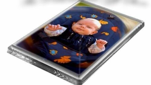 2 x Blank Clear Acrylic Fridge Magnets 78x52mm Photo Frame