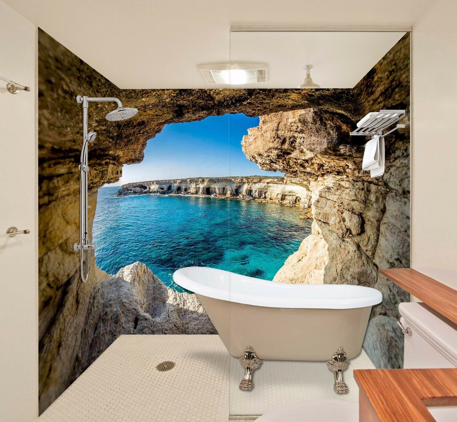 3D Cave Bule Pond WallPaper Bathroom Print Decal Wall Deco AJ WALLPAPER UK