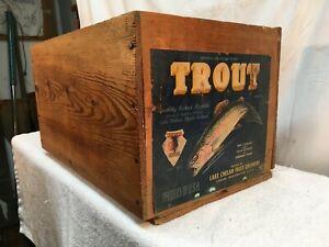 Vintage Wood Packing Crate Paper Label Trout Fish Bushel Apple Box Fruit Growers