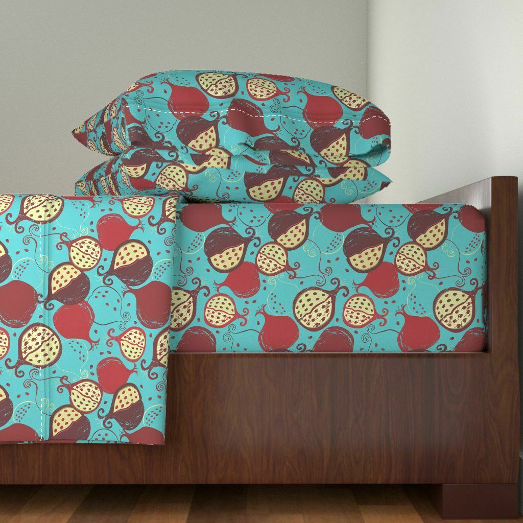 Pomegranate Tropical Fruits blu 100% Cotton Sateen Sheet Set by Roostery