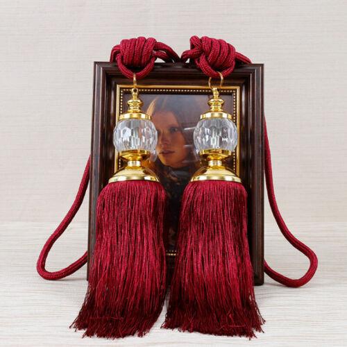 2PCS Curtain Holdbacks Rope Tie Backs Buckles Beaded Ball 6 Colors New