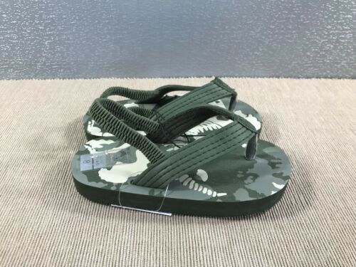 BNWT Little Boys Sz 12 Super Cute Green Camo Dinosaur Sling Back Beach Thongs