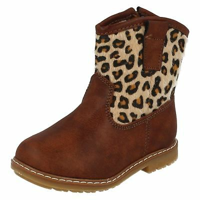 H4110 GIRLS SPOT ON COWBOY STYLE ANIMAL PRINT ZIP UP STYLISH CASUAL BOOTS SHOES