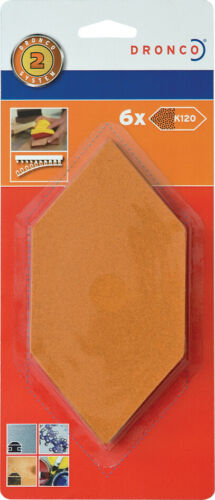 120 6 Blätter DRONCO Nachfüllpack für Sechseck-Handschleifer Korn
