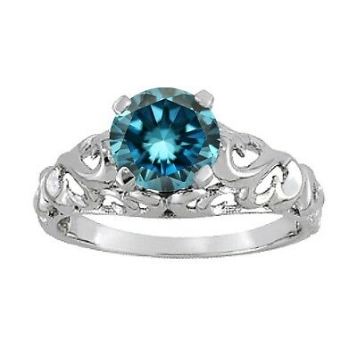 0.50 Carat Blue Diamond Solitaire Engagement Promise Ring 14K White Gold