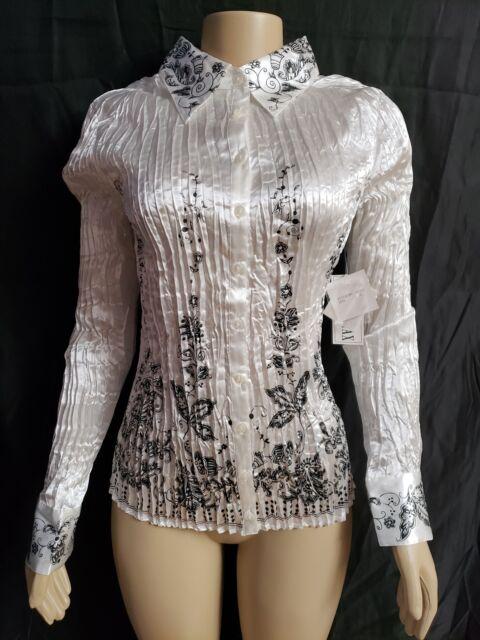 KAELYN-MAX Size Large White & Black Crinkle Long Sleeved Blouse. NEW