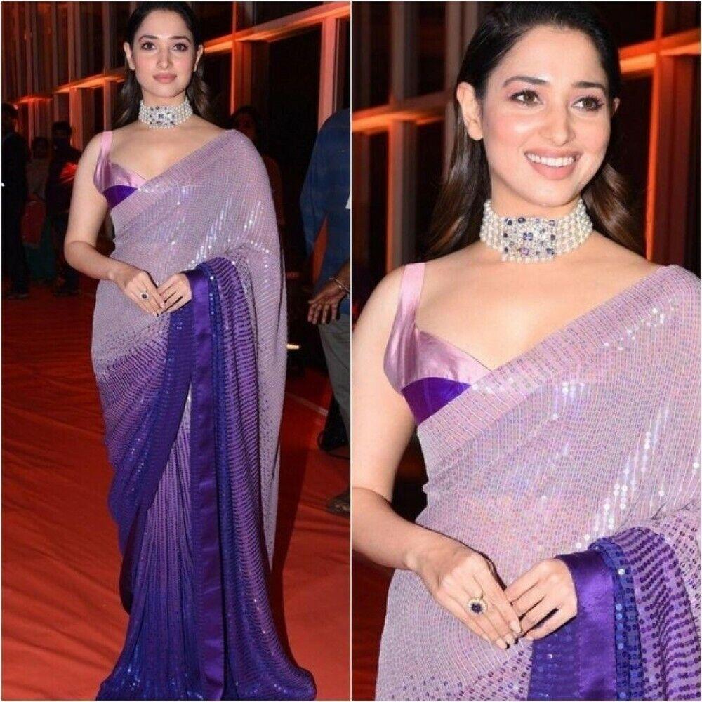 Blue 3D Effect Sequence Work Saree Georgette Sari Sequin work Saree Indian Dress