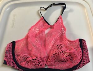 5beb1788cba0 Details about Victorias Secret 32C Bra Very Sexy Highneck Pink Navy Fishnet  Crochet