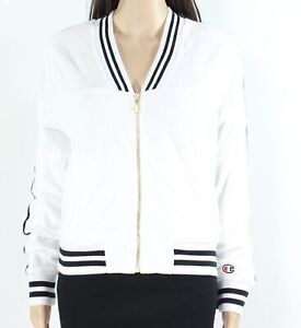 Champion Womens Jacket White Size Small S Terry V-Neck Striped Warm-Up $75 115