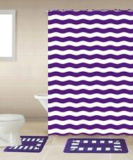 Striped Purple White 18-Piece Bathroom Accessory Set 2 Bath Mats Shower Curtain