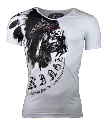 T-Shirt Tiger Lion Print mit Strass Steinen weiß