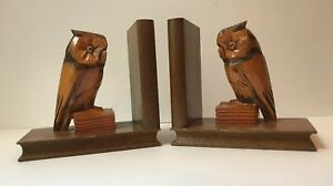 Owl bookends wood hand carved black forest style germany mid