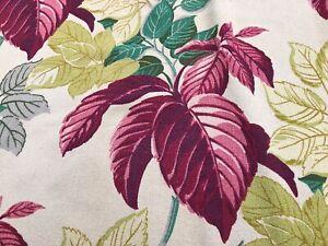 SALE-Miami-Caladiums-Barkcloth-Vintage-Fabric-Drape-Curtain-30-039-s-Tropical-Chic