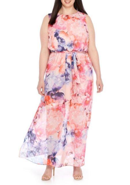 Jessica Howard Plus Size 18w Pink Floral Print Maxi Dress