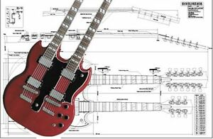 gibson eds double neck sg electric guitar full scale plan ebay rh ebay com Gretsch Rally Guitar Wiring Diagram Gretsch Rally Guitar Wiring Diagram