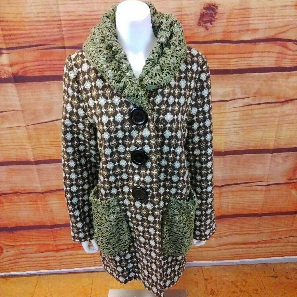 AN REN NEW YORK BROWN MULTI COLOR COAT SIZE LARGE - image 1