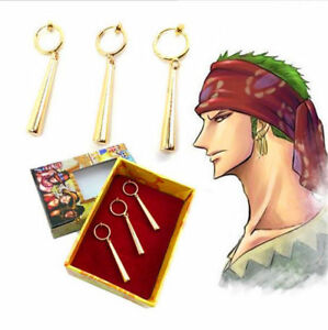One-Piece-Roronoa-Zoro-Ear-Clip-Earrings-Metal-Pendant-New-Gift