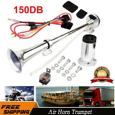 Single Trumpet Air Horn Kit w// Compressor Chrome Brass