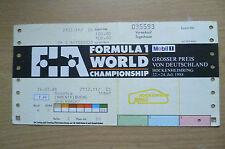 Ticket- 1988 Formula 1 World Championship~ GROSSER PREIS VON DEUTSCHLAND,24 July
