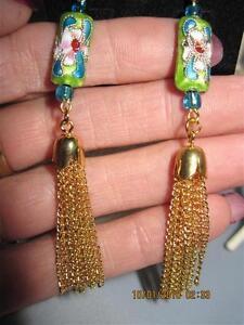 Cloisonne Flower w/ Gold Fringe Dangle Fashion Earrings....Original Design #59