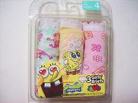 Spongebob Squarepants Underwear Underpants 3 Pair Briefs Girls Sz 2 4 6 8 Nip