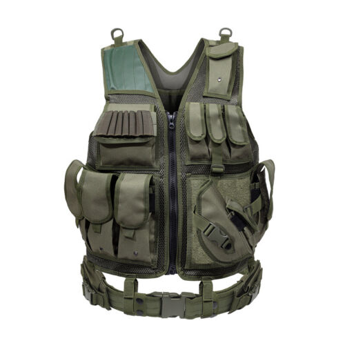 Military Army Tactical Vest Gun Holder Molle Combat Assault Police Hunting Gear