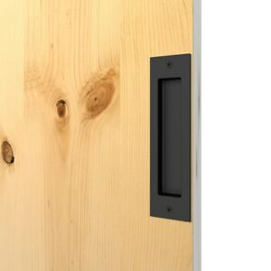 Matte Black Finger Pull Sunk into Wood Door Side Mount Inset Handle ...