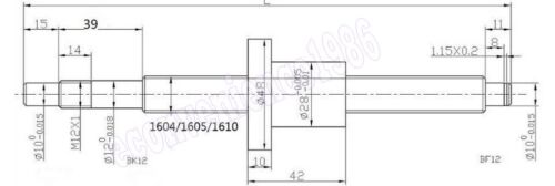 Anti-baclashed RM1610--700 mm Ballscrew /& RM1610 ball Nut with End Machined