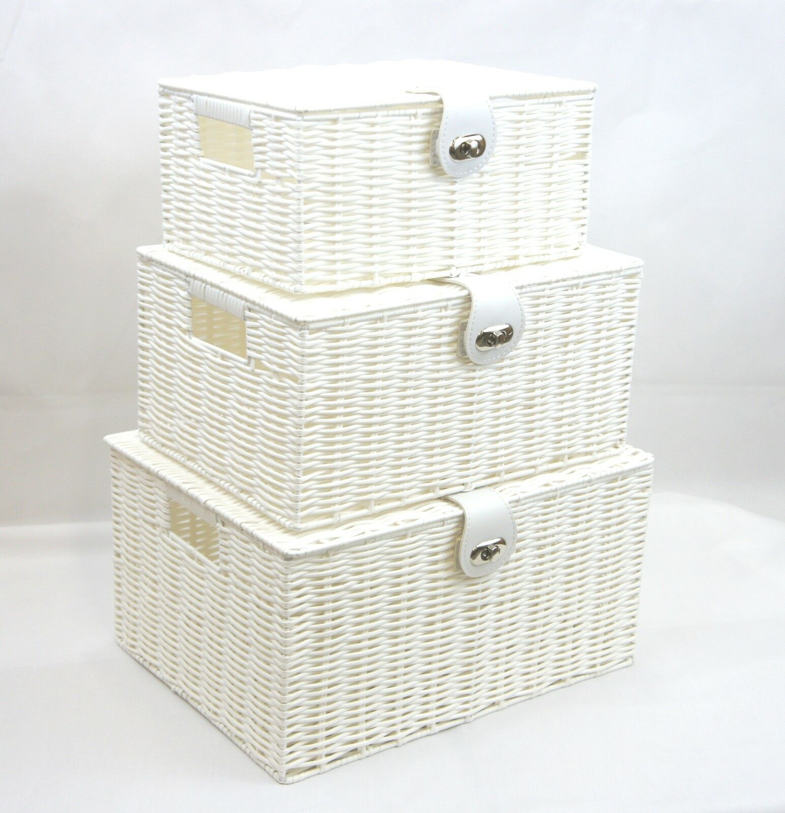 Arpan White Resin Woven Hamper Storage Basket Box With Lid