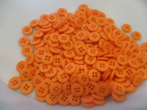 LOT OF 150 ORANGE COLOR 7//16 INCH 4 HOLE BUTTONS NEW,