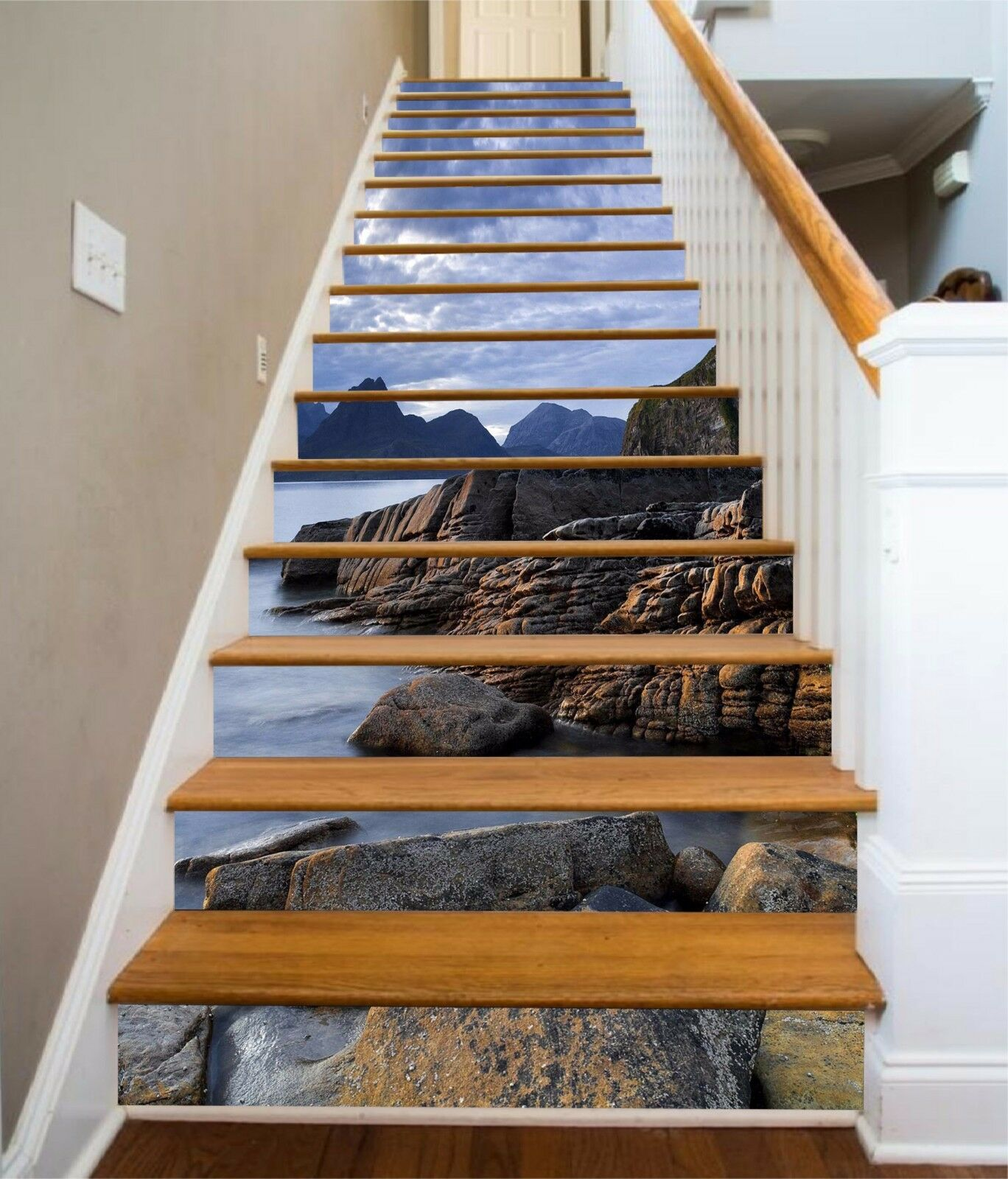 3D Dark sea Stair Risers Decoration Photo Mural Vinyl Decal Wallpaper AU