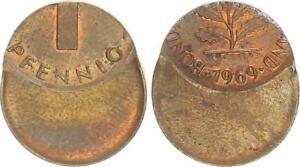 Frg 1 Pfennig 1969 Lack Coinage: 60% Dezentriert Mint State, Kupferpatina