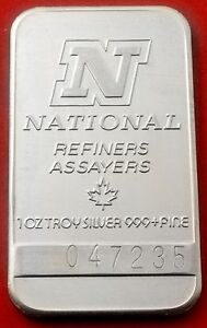 1 Oz 999 Fine Silver Bar National Refiners Assayers